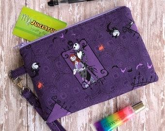 SALE- Jack Skellington Bag Clutch Wallet Wristlet Bag Gift for her  Zipper PouchPurple purse Small Bag Gift under 20