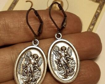 Saint St Michael Religious Medal Silver Tone Coin Drop Earrings Steel Hooks Pierced