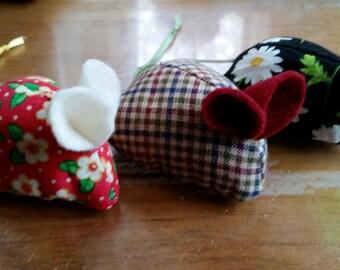 Three handmade organic catnip mice