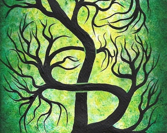 Modern Acrylic painting, Green tree, TREE of life, Original fine art, Acrylic painting
