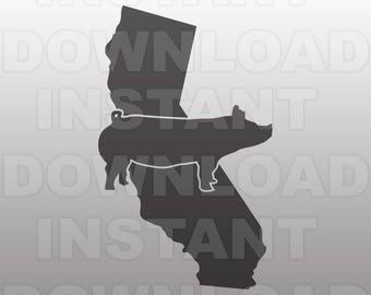 California Show Pig SVG File,Farm Livestock SVG File -Personal & Commercial Use - cricut svg,silhouette svg,svg cuts,vector svg,vinyl files