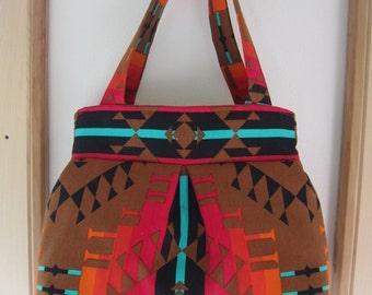 Southwestern Linen Pleated Handbag Purse Ipad Netbook Tote Tribal
