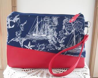 Large Clutch Wristlet Zipper Gadget Pouch Bag Nautical Navy Vegan Faux Leather Removable Wrist Strap