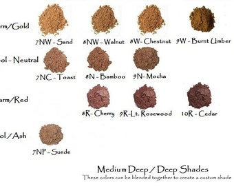 5 Sampler Set - Mineral Foundation - Medium to Deep Shades -  Mini Ziplocks
