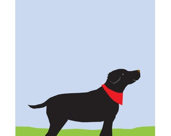 Black Lab in Spring Original Illustration matted in 11 x 14 inch white mat