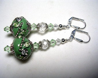 Boho Embellished Indonesia Earings in Silver Green Swarovski Crystal Rhinestone Leverback Hooks