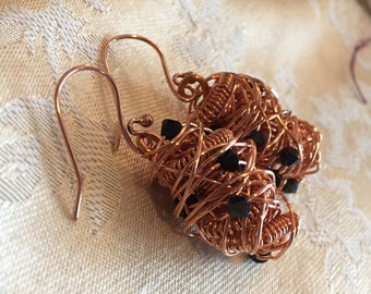 Copper Messy Wire Wrapped Earrings  Swarovski Black Crystal