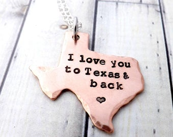 Texas necklace-texas jewelry-i love you to Texas and back-personalized texas jewelry-texan-texas-hand stamped texas necklac-texan necklace