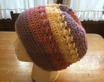Crochet Slouchy Hat Sweet Roll Pink ,Lavender, and Cream Adult