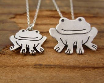 Mother Daughter Frog Necklace Set - Set of Two Sterling Silver Frog Necklaces