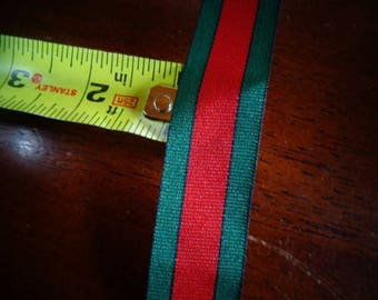 Vintage War Medal Pin Ribbon 3 yards in excellent condition Red and Green Military Ribbon