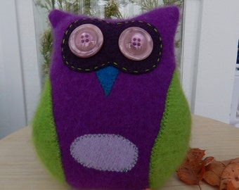 Recycled Cashmere Owl Tooth Fairy Pillow - Purple and Green