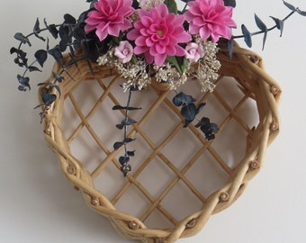 Home Decor,Wall Accent,Wicker Heart,Floral Arrangement,Handmade,Cold Porcelain,Pink