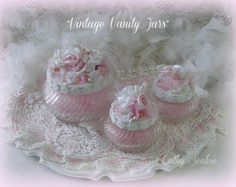Vintage Vanity Jars with Silk Roses, Cottage Chic Glass Containers, Pink Silk Roses, Millinery, Forget Me Nots, Shabby Pink