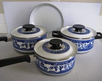 Enamel Pan With Lid Etsy