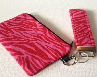 SALE - Take Me Out Wristlet Set in Pink Zebra