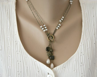 Long Or Short Convertible Antiqued Brass, Smokey Quartz and Freshwater Pearl Charms and Gemstone Dangling Necklace, Two Necklaces in One