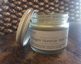 Milagro Miracle Face Balm with Matcha, Bee Pollen, Rosehip Oil, Moringa and Creosote Oil. All-natural Face Care.