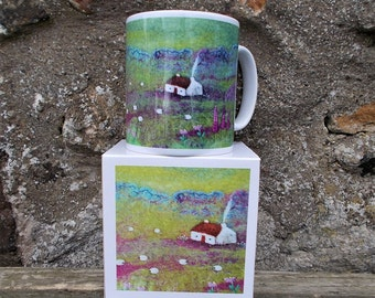 Porcelain Mug with Two Cottages, Sheep and Flowers Printed Image