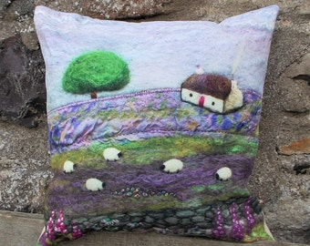 Scottish Cottage Scene Cushion Digitally Printed.
