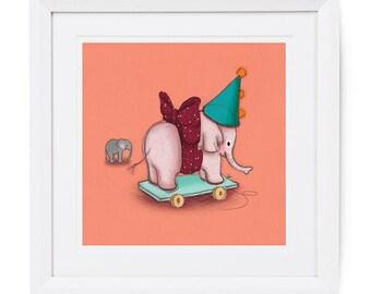 Nursery Wall Art, Snuffly Elephant, Vintage illustration style