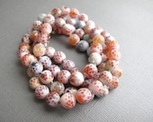 Long Agate Necklace, Frosted Agate Beaded Necklace
