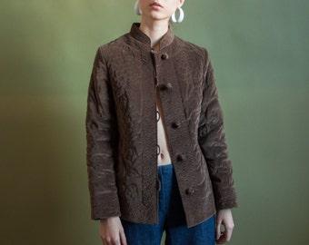 brown velvet-y floral print quilted jacket / asian folk jacket / cotton jacket / s / 2098o / B20