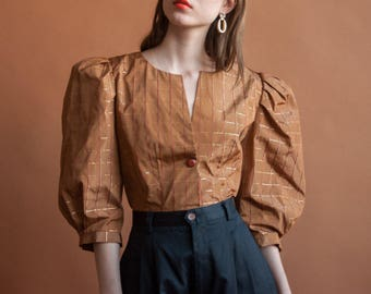 50s taffeta plaid puff sleeve blouse / puff dramatic balloon sleeve blouse / voluminous sleeve jacket / s / m / 2212t / B18