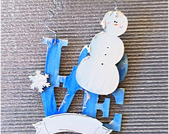 Personalize Snowman Holiday Ornament. Glittery Frosty Winter LOVE. Vintage personalized ornament. Cottage winter decor. Valentines gift.