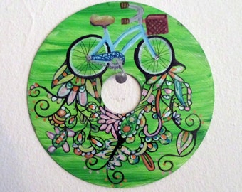 Vinyl record art - Bicycle cruiser bike painting - growing vines and flowers, LP, Recycled, original wall art,