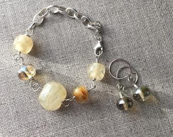 Artisan Lampwork Bead Bracelet and Earrings Set. Cream Ivory Caramel Beige Lampwork Jewelry Set. Wedding Bracelet. Sterling Silver Jewellery