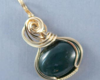 Moss Agate 14k Gold Filled Wire Wrapped Gemstone Pendant
