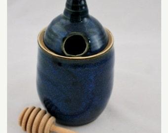 ON SALE Cobalt Blue Ceramic Honey Pot Wheel Thrown Stoneware Clay Pottery