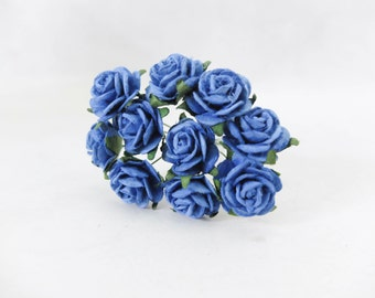 10 20mm royal blue paper roses - 2 cm mulberry paper flowers