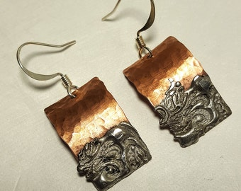 Copper Solder Stamped Earrings #2