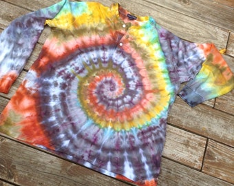 XL Tie Dye Shirt Upcycled Lands End Henley Earth Tones Long Sleeve Swirl Pattern