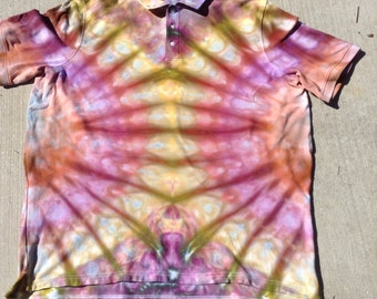 Mens XXL Tie Dye Polo Shirt Upcycled Clothing Knit Polo Pastel Tie Dye Hippie Shirt