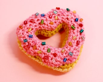 Sweet Heart Donut - Pink with Rainbow Sprinkles