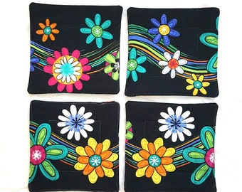Floral Spray over Black Coaster Set of four, Reversible