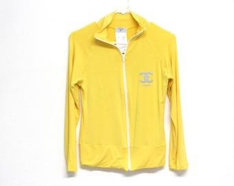 Vintage 80s Chanel Track Suit Jacket CC Logo Glitter Old School