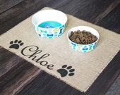 Custom puppy dog pet placemat for dog food bowls - personalized with your pets name between the paws!