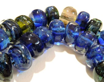 Handmade Lampwork Glass Borosilicate Beads BLUES Two Sisters Designs 041017D