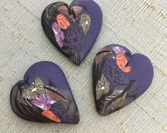 Folk Forest Heart Bead - Purple