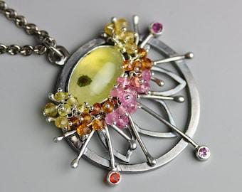 Prehnite and Sapphire Starburst Flower Pendant
