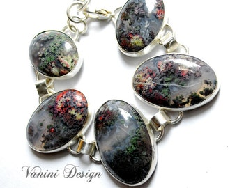 Nature - Fine/sterling silver,Moss Agate bracelet,gift for her