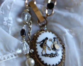 Antique Assemblage Necklace Art Deco Pendant Vintage ID Bracelet