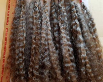 """F209 Lustrous Brushed Bundled Washed 1 oz  9""""- 11""""  Natural doll mohair Long Locks from Comfrey"""