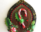 Candy Cane Elf Door Miniature Fairy Door for the Holidays, Polymer Clay Christmas Wall Decor