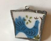 Blue Bird of Happiness Broken China Pendant