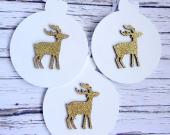 White wood bauble Christmas ornaments with gold glitter reindeer decoration, set of 3